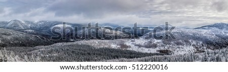 High Resolution Panorama Composition of Winter Mountains Landscape in Canada, Quebec