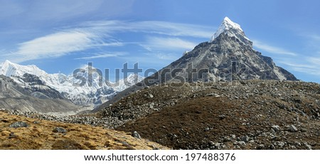 High resolution panorama of Gokyo glacier, Everest, Lhotse, and Chola peaks in the area of Cho Oyu - Gokyo region, Nepal, Himalayas