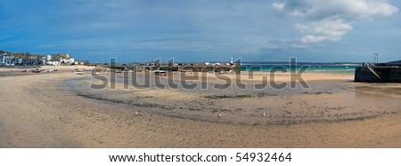 High Resolution panorama of St Ives Harbour at low tide, Cornall, England. - stock photo