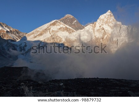 High resolution panorama of the Mt. Everest and Nuptse in the evening - Nepal - stock photo