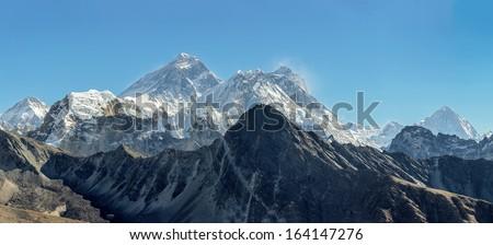 High resolution panorama of the three highest peaks of the World -  Everest (8848 m), Lhotse (8516 m), and Makalu (8481 m) from the Renjo Pass - Gokyo region, Nepal, Himalayas - stock photo