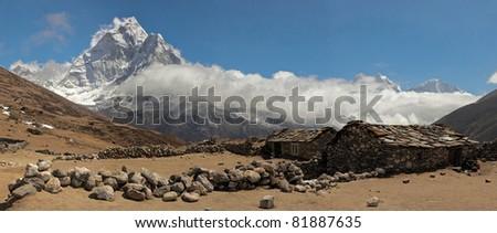 High resolution panoramic kind from summer yak farm on the Himalaya peak Ama Dablam - Nepal, Himalayas - stock photo