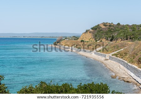 High Resolution panoramic view of ANZAC cove, site of World War I landing of the ANZACs on the Gallipoli peninsula in Canakkale Turkey