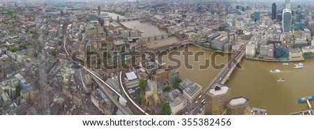 High resolution panoramic view of River Thames in London, UK - stock photo
