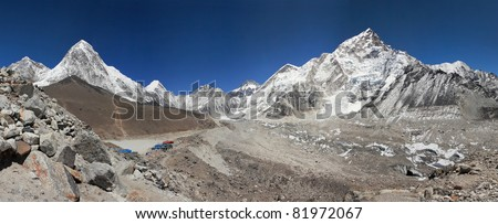 High resolution panoramic view of the Mt. Everest region near Gorak Shep - stock photo