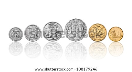 High resolution photo of Australian coins, 5 cent, 10 cents, 20 cents, 50 cents, 1 dollar, and 2 dollars - stock photo