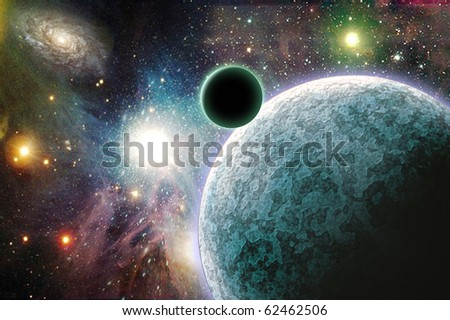 High Resolution Planets in space - stock photo