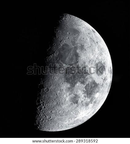 high resolution quarter moon - stock photo