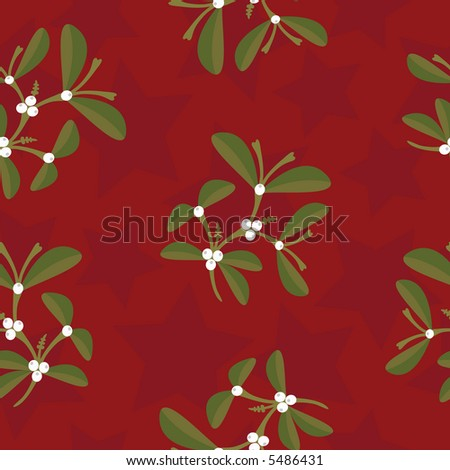 High resolution raster seamless background pattern (mistletoe twigs and stars on red) - stock photo