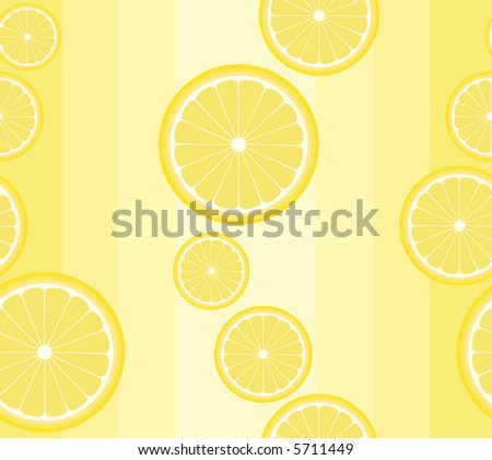 High resolution rasterized seamless background pattern with lemon slices on pale yellow - stock photo
