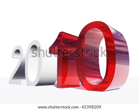 High resolution red and white 3D glass 2010 year isolated on white background - stock photo