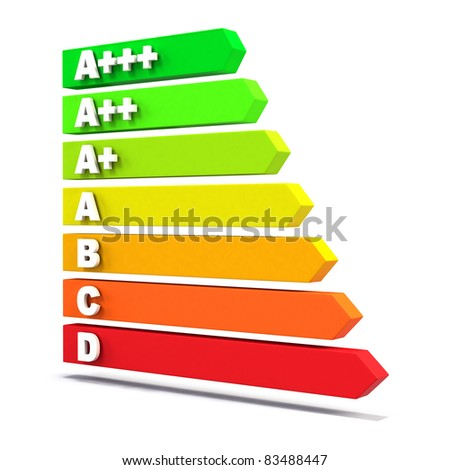 High resolution render of the new EU-Regulation / Energy Efficiency Class Bars / on white with soft shadow - stock photo