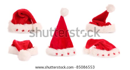 High resolution Santa caps collection, isolated on white background - stock photo