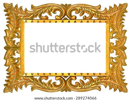 High resolution scroll gold vintage genuin wood frame cutout on white isolated with working path - stock photo