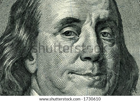 high-resolution shoot of of hundred dollar bill - stock photo