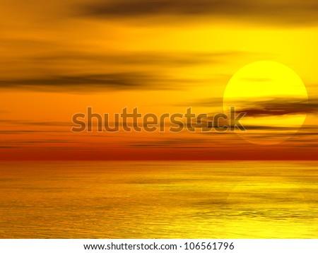High resolution sunset sun - stock photo