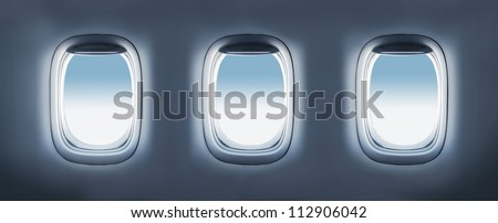High resolution three aircraft's porthole - stock photo