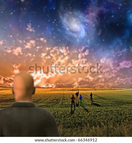 High Resolution Very shallow focus symbolic landscape - stock photo
