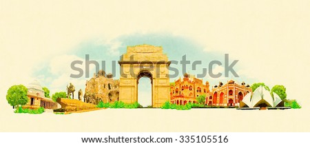 high resolution water color illustration delhi city - stock photo