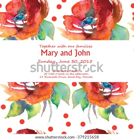 High resolution watercolor floral invitation card stock illustration high resolution watercolor floral invitation card red flower poppyflower rose dog rose stopboris Image collections