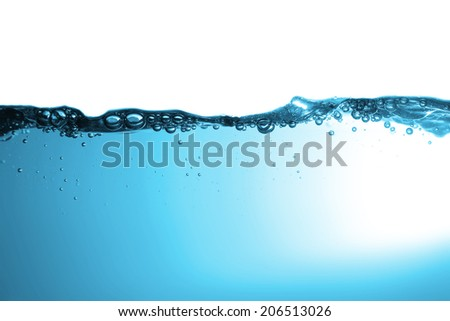 High resolution. Wave and bubbles to clean drinking water.