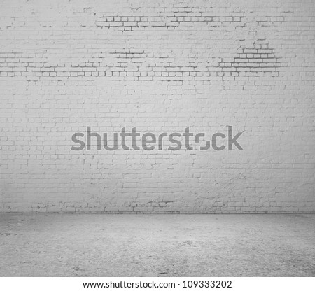 high resolution white brick wall and floor - stock photo