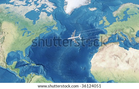 High Resolution White Civil Airplane over the Atlantic ocean flying from Europe to the USA - stock photo