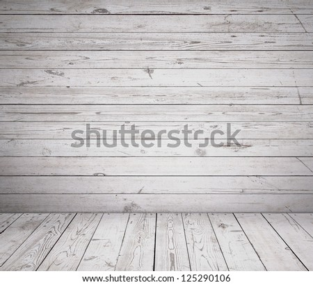 High resolution white wooden room - stock photo
