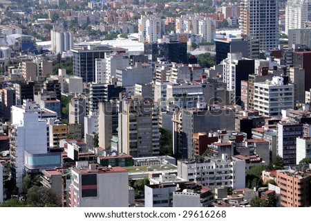 High-rise apartment blocks dotting the skyline of Mexico City, a metropolis of over 20 million people. A generic view of urban living that could be from anywhere in the world. - stock photo