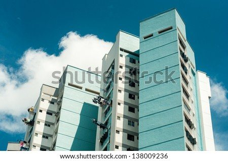 High rise apartment in Singapore developed by HDB - stock photo