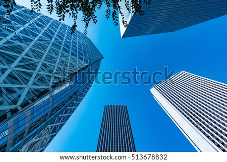 High-rise buildings and blue sky - Tokyo, Japan