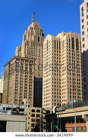 High rise buildings in downtown Detroit - stock photo