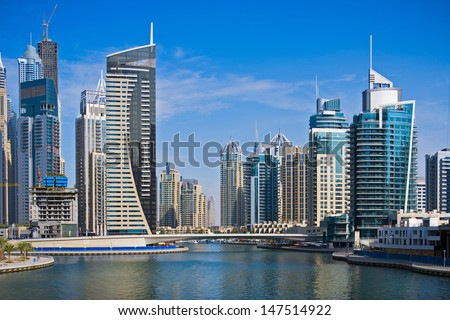 High-rise buildings in Dubai Marina - stock photo