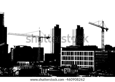 high rise construction cranes  across downtown  Seattle, Washington