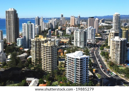 High rise view of Surfers Paradise on Australia's Gold Coast - stock photo