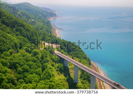 High road bridge along the coast - stock photo