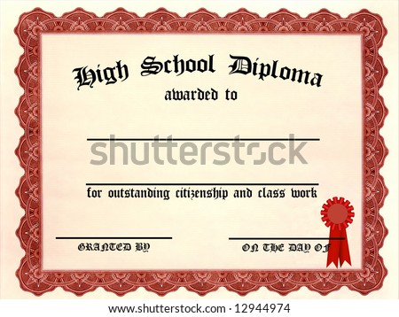 High School Diploma with blank lines - stock photo