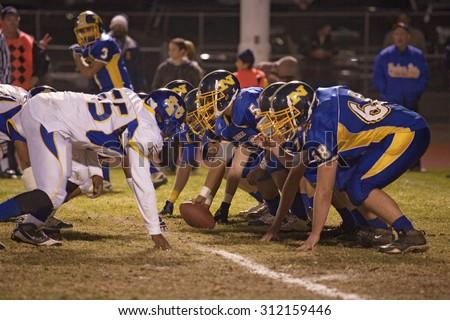 High school football scrimmage, Ojai Nordhoff Rangers Football team defeat Verbum Dei Eagles 21-0 on November 19, 2010, Ojai, CA, USA - stock photo