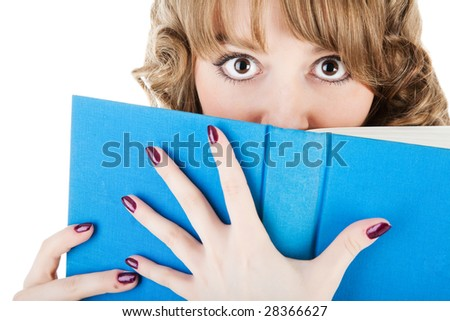 high school girl holding book over white - stock photo