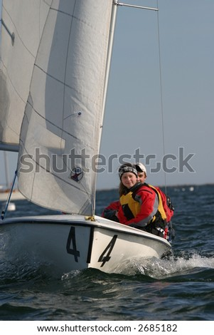 High school sailing team. Editorial use only. - stock photo