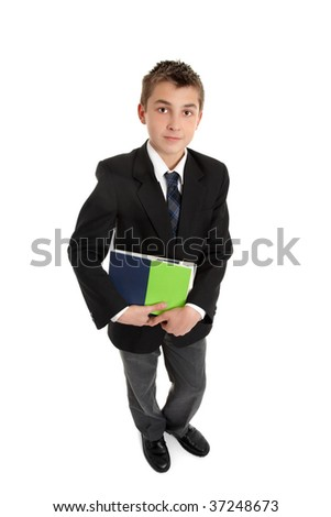 High school student in uniform holding text books.  On a white background, shadow under feet. - stock photo