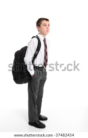 High school student standing with a school bag on his back. - stock photo
