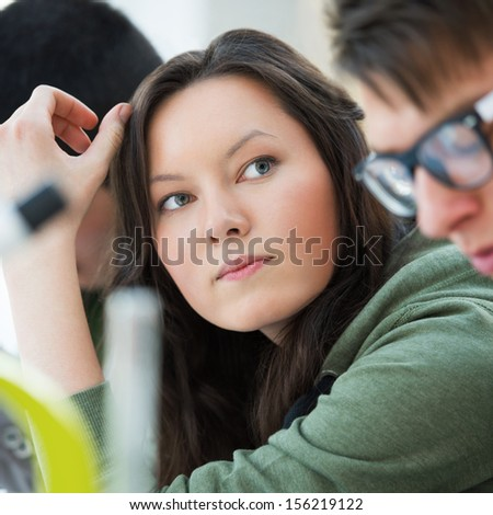 High School students. Group of students working together at laboratory class. - stock photo