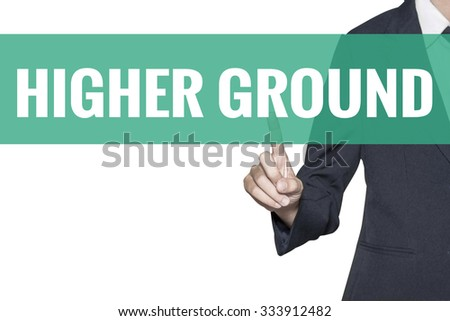 High School word on virtual screen touch by business woman on white background - stock photo