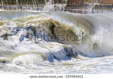 High sea wave. Stormy weather. - stock photo