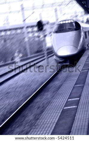 High speed bullet train in Japan in purple color tone - stock photo