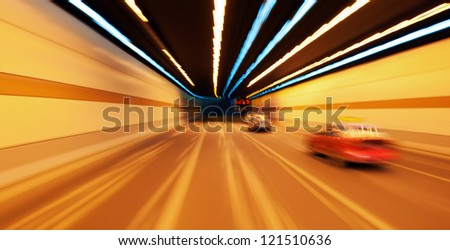High-speed car in the tunnel, Motion Blur. - stock photo