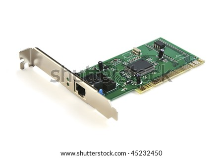 High-speed Ethernet PCI adapter isolated over white with clipping path. - stock photo