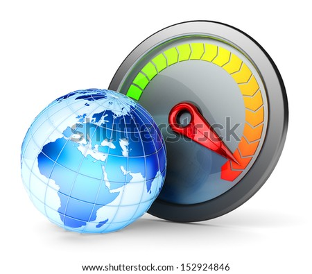 High-speed Internet concept. Speedometer and Earth globe isolated on white background. Elements of this image furnished by NASA.  - stock photo