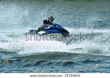 High speed jet ski water sport - stock photo